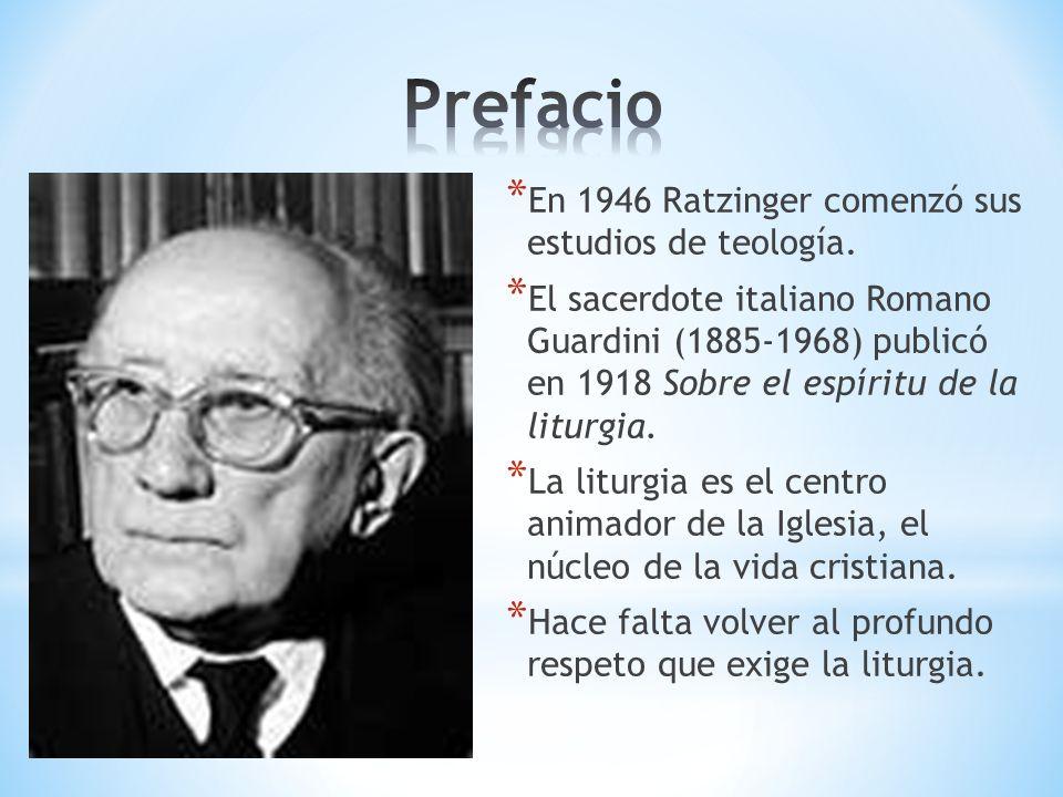 Prefacio En 1946 Ratzinger comenzó sus estudios de teología.