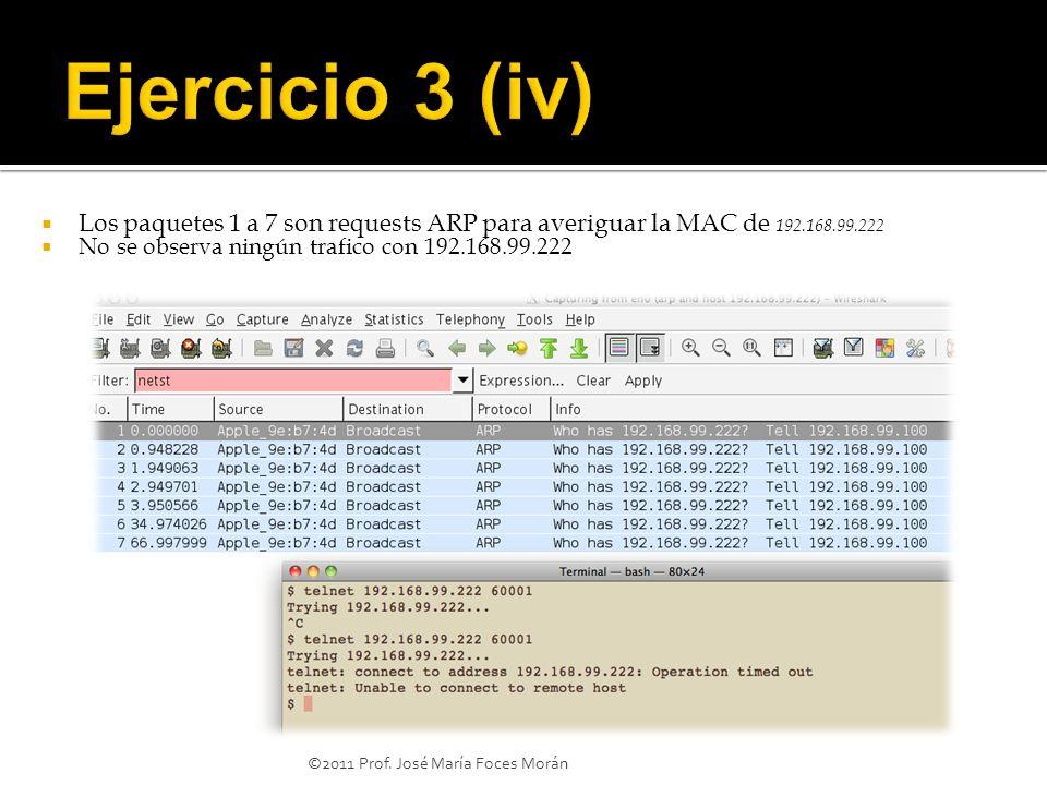 Ejercicio 3 (iv) Los paquetes 1 a 7 son requests ARP para averiguar la MAC de 192.168.99.222. No se observa ningún trafico con 192.168.99.222.