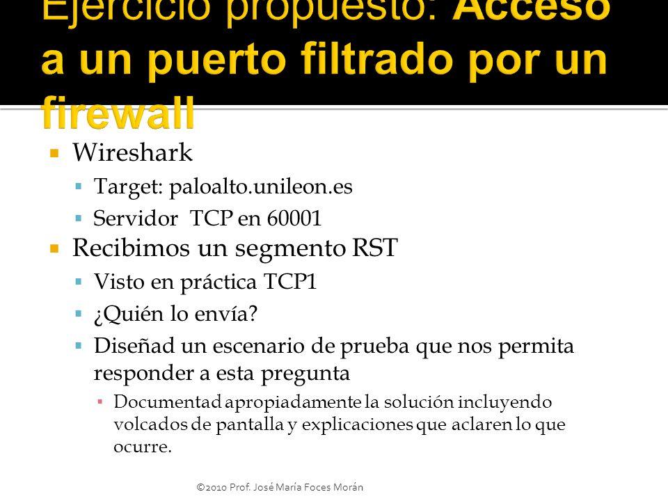 Ejercicio propuesto: Acceso a un puerto filtrado por un firewall