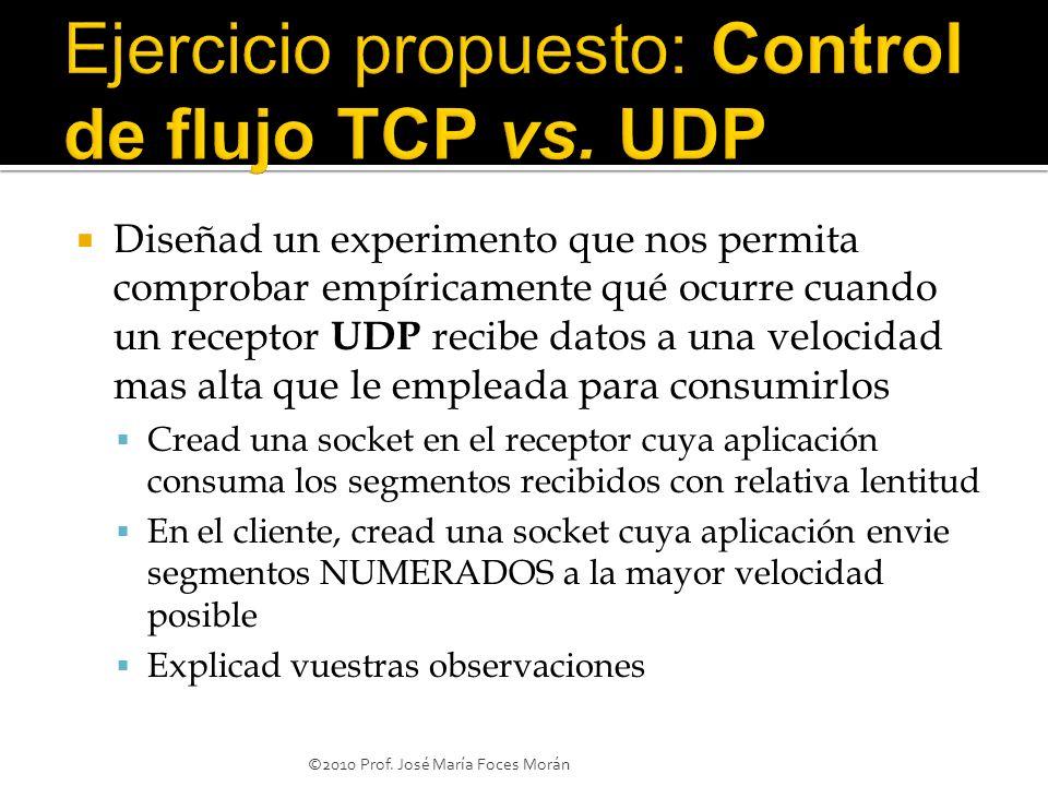 Ejercicio propuesto: Control de flujo TCP vs. UDP
