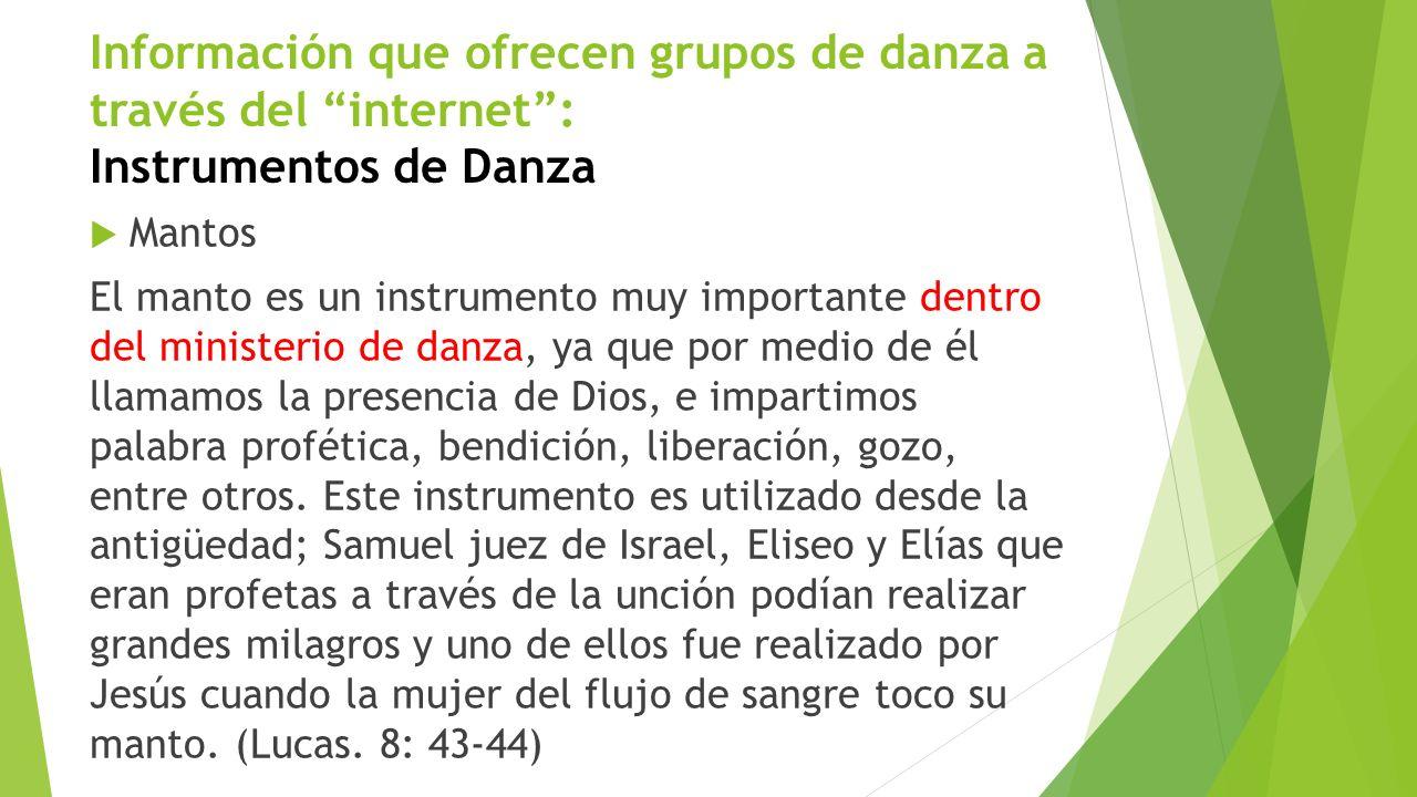 Información que ofrecen grupos de danza a través del internet : Instrumentos de Danza