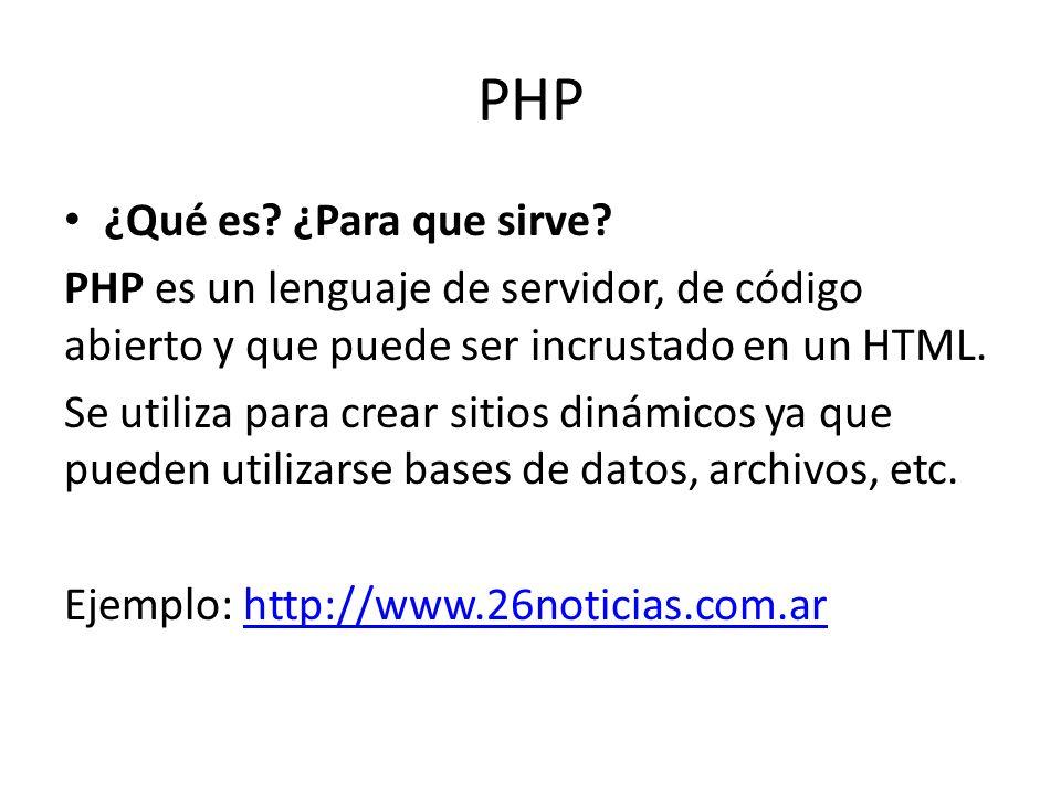 PHP ¿Qué es ¿Para que sirve