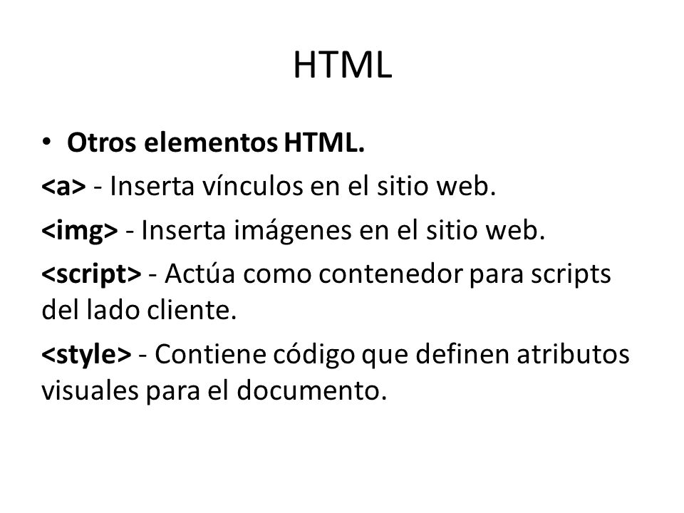 HTML Otros elementos HTML.