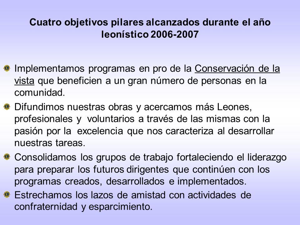 Cuatro objetivos pilares alcanzados durante el año leonístico 2006-2007