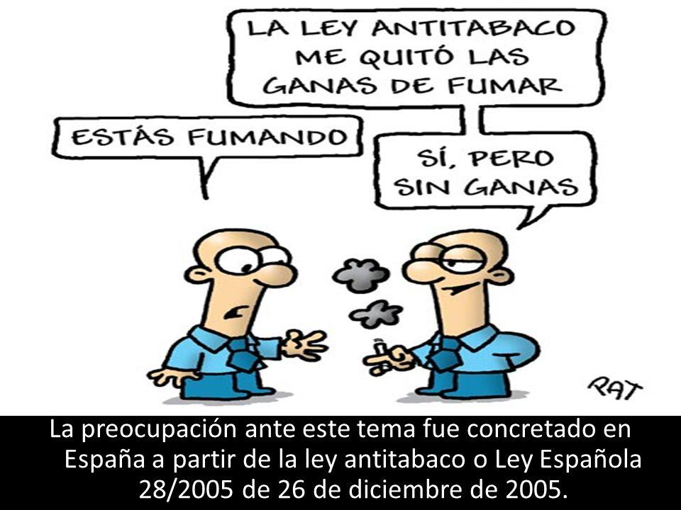 La preocupación ante este tema fue concretado en España a partir de la ley antitabaco o Ley Española 28/2005 de 26 de diciembre de 2005.