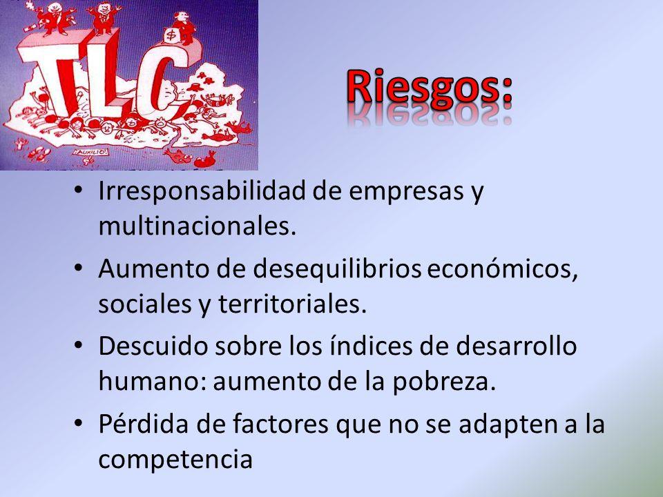 Riesgos: Irresponsabilidad de empresas y multinacionales.