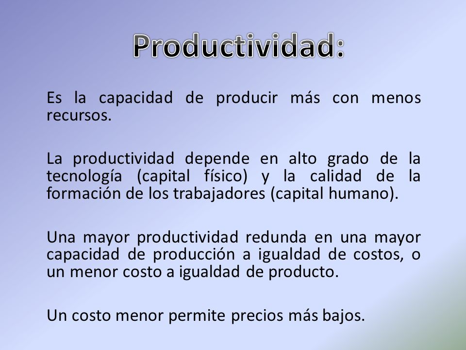 Productividad: