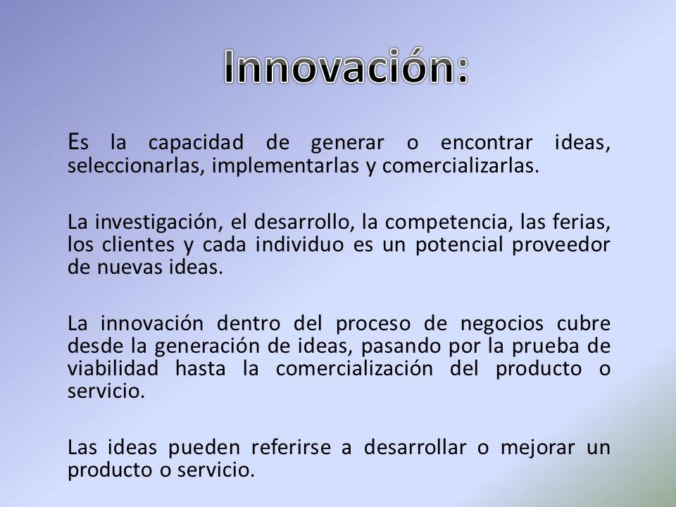 Innovación: Es la capacidad de generar o encontrar ideas, seleccionarlas, implementarlas y comercializarlas.