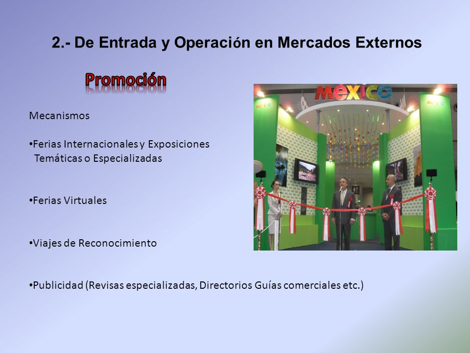 Promoción 2.- De Entrada y Operación en Mercados Externos Mecanismos