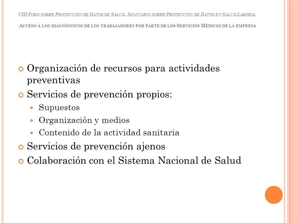 Organización de recursos para actividades preventivas