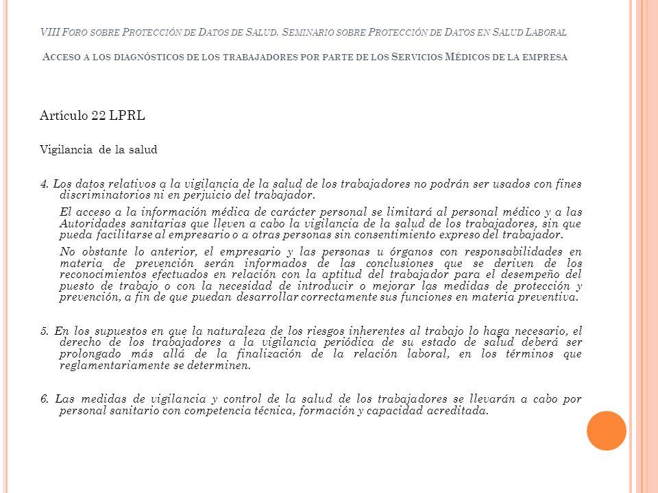 Artículo 22 LPRL Vigilancia de la salud