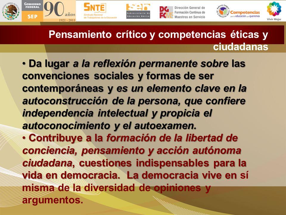 Pensamiento crítico y competencias éticas y ciudadanas