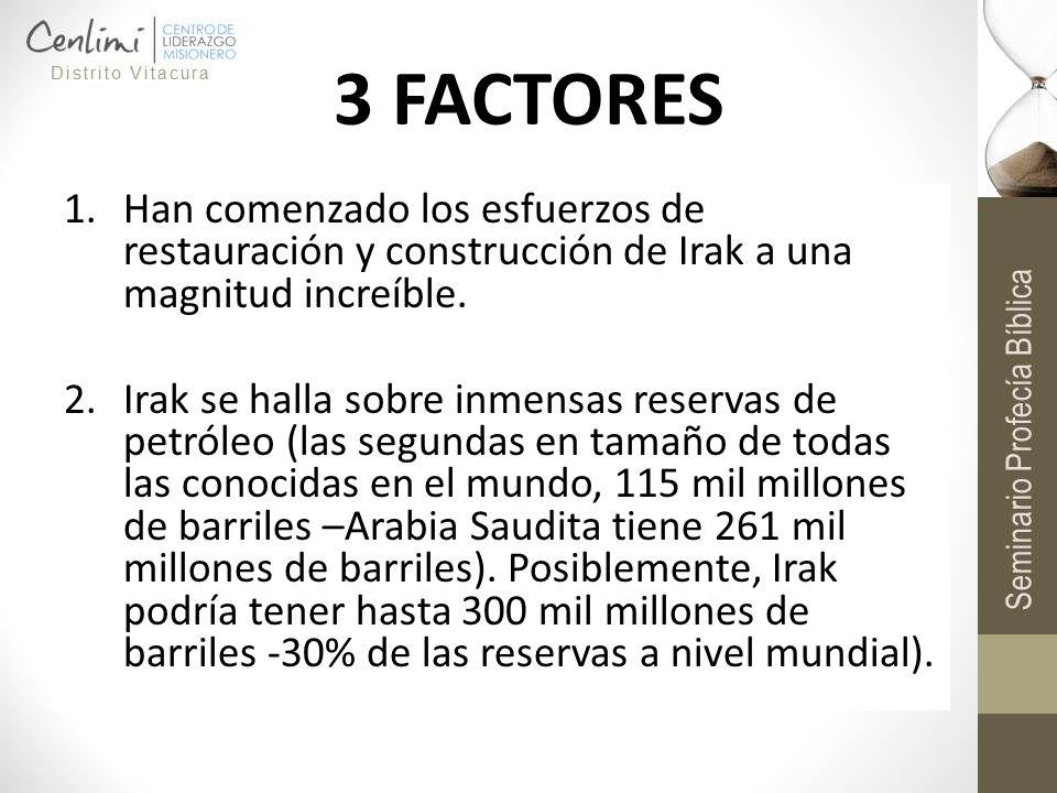 3 FACTORES Han comenzado los esfuerzos de restauración y construcción de Irak a una magnitud increíble.