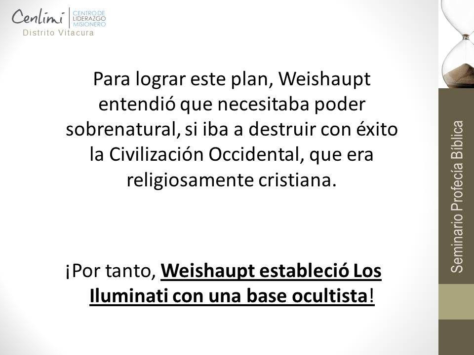 ¡Por tanto, Weishaupt estableció Los Iluminati con una base ocultista!