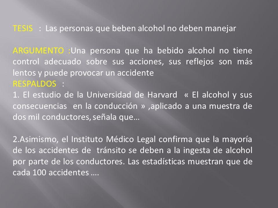 TESIS : Las personas que beben alcohol no deben manejar