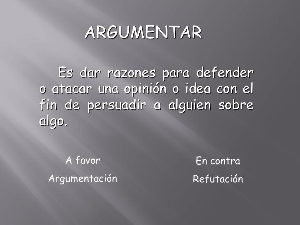 ARGUMENTAR Es dar razones para defender o atacar una opinión o idea con el fin de persuadir a alguien sobre algo.