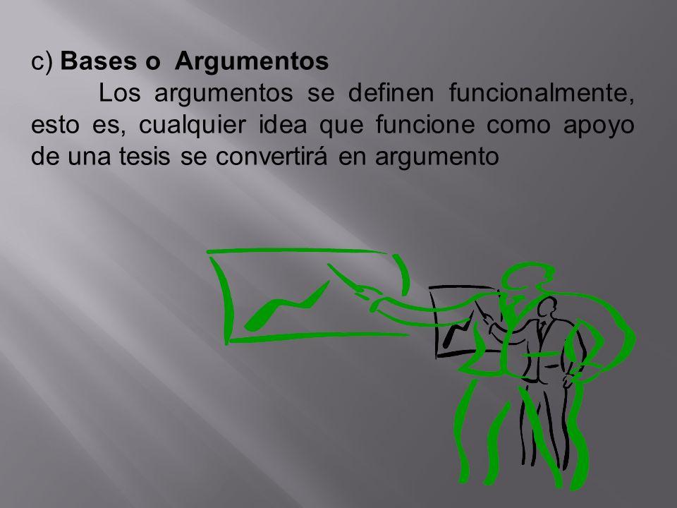 c) Bases o Argumentos