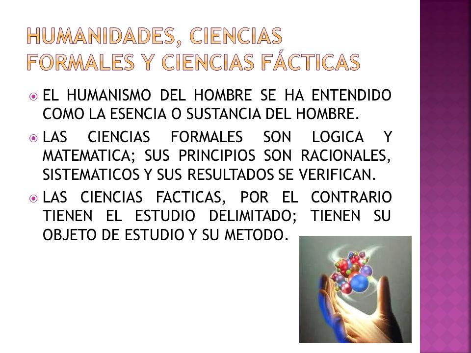 HUMANIDADES, CIENCIAS FORMALES Y CIENCIAS FÁCTICAS