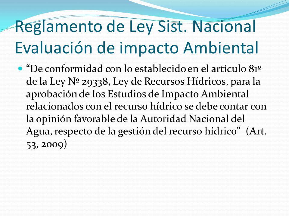 Reglamento de Ley Sist. Nacional Evaluación de impacto Ambiental