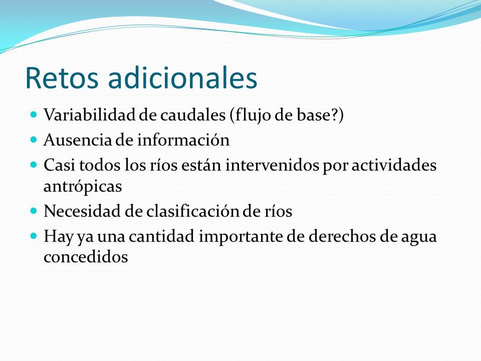 Retos adicionales Variabilidad de caudales (flujo de base )