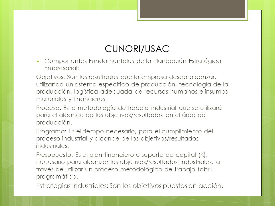 CUNORI/USAC Componentes Fundamentales de la Planeación Estratégica Empresarial: