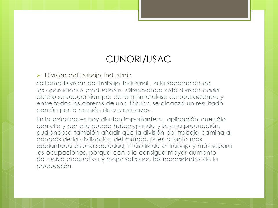 CUNORI/USAC División del Trabajo Industrial:
