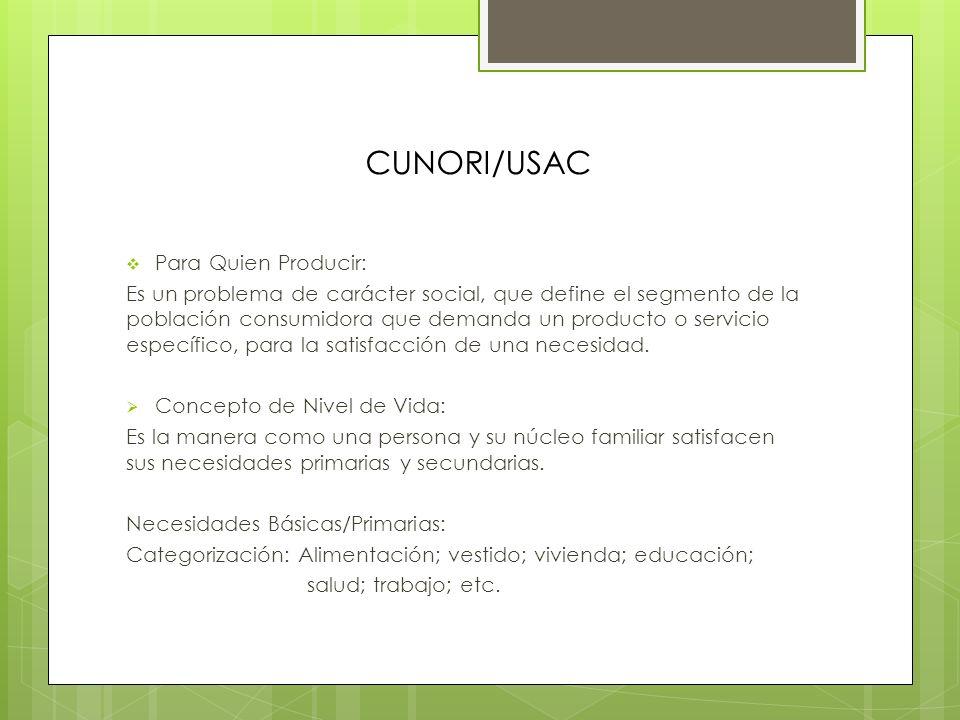 CUNORI/USAC Para Quien Producir: