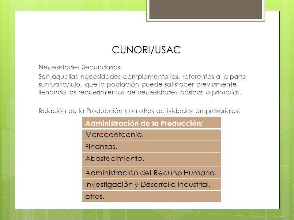CUNORI/USAC Administración de la Producción: Mercadotecnia. Finanzas.