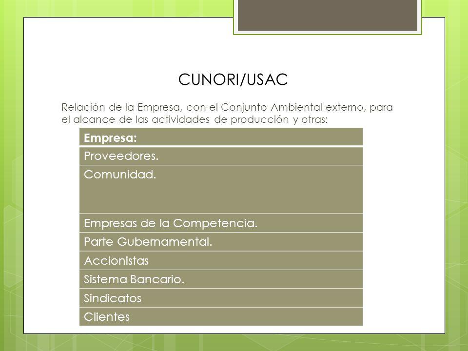 CUNORI/USAC Empresa: Proveedores. Comunidad.
