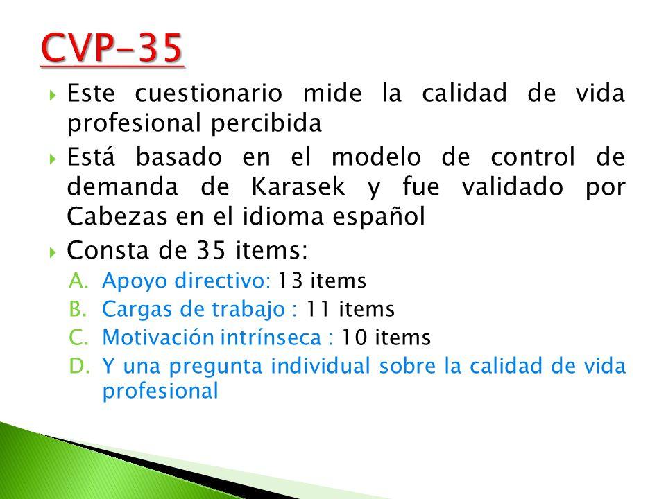 CVP-35 Este cuestionario mide la calidad de vida profesional percibida