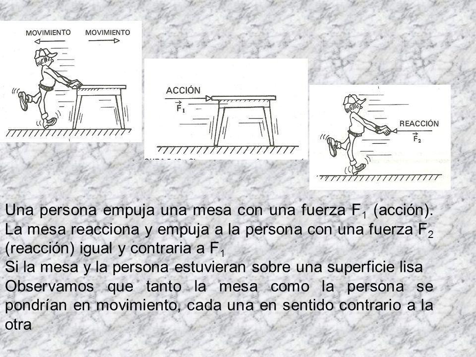 Una persona empuja una mesa con una fuerza F1 (acción)