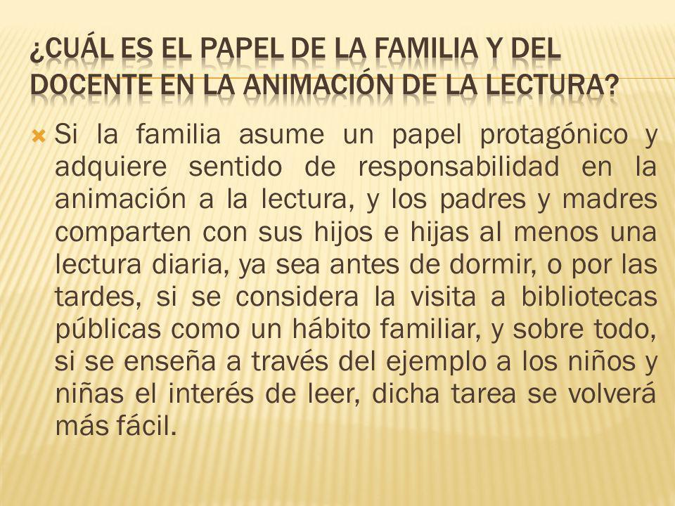 ¿Cuál es el papel de la familia y del docente en la animación de la lectura