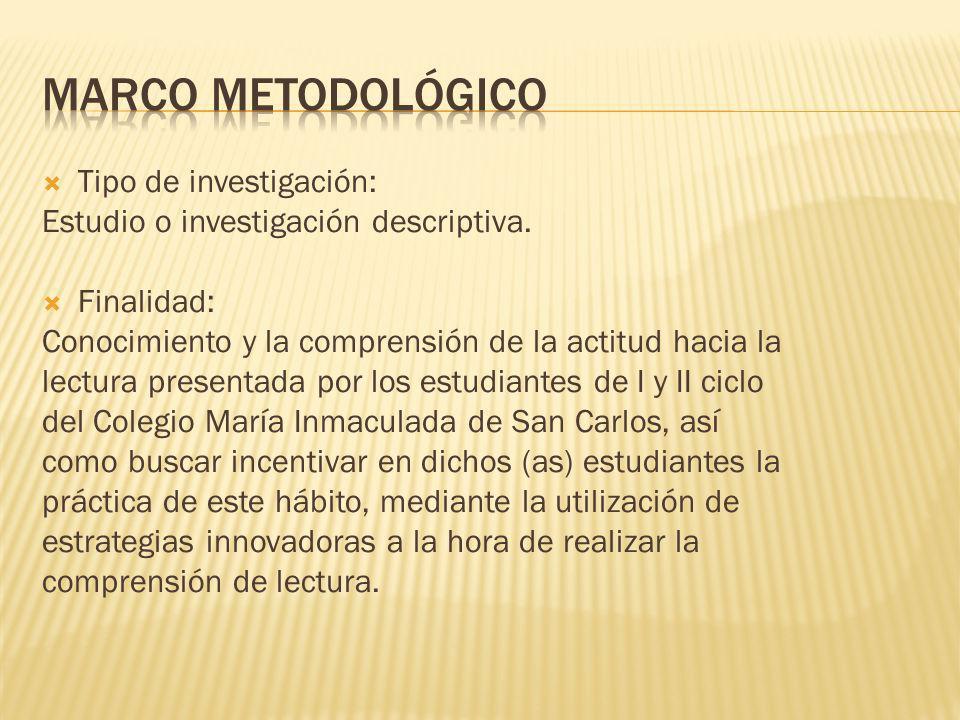 Marco metodológico Tipo de investigación: