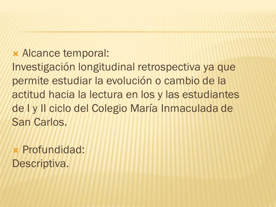 Alcance temporal: Investigación longitudinal retrospectiva ya que. permite estudiar la evolución o cambio de la.