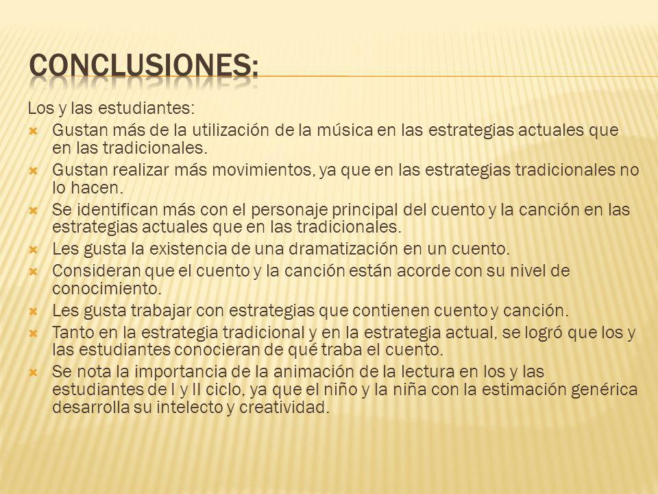 Conclusiones: Los y las estudiantes: