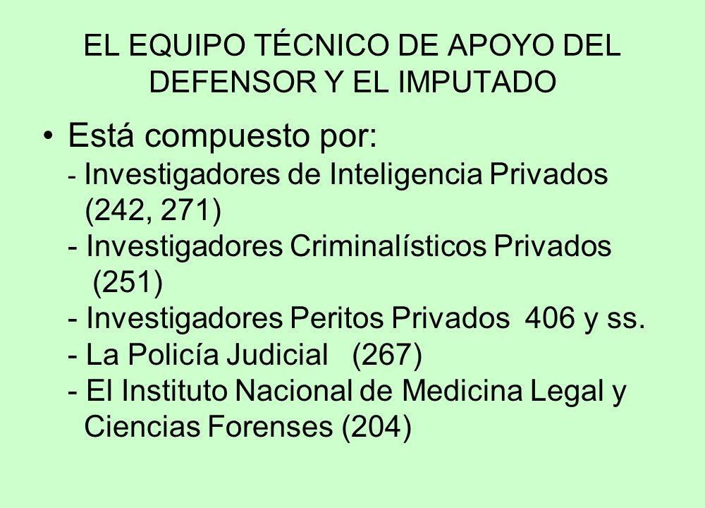 EL EQUIPO TÉCNICO DE APOYO DEL DEFENSOR Y EL IMPUTADO