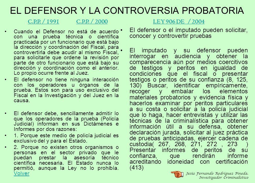 EL DEFENSOR Y LA CONTROVERSIA PROBATORIA