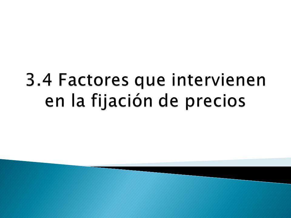 3.4 Factores que intervienen en la fijación de precios