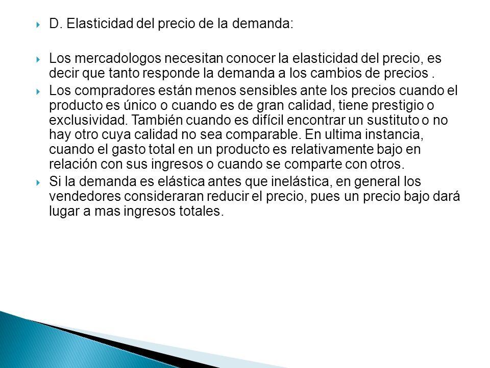 D. Elasticidad del precio de la demanda: