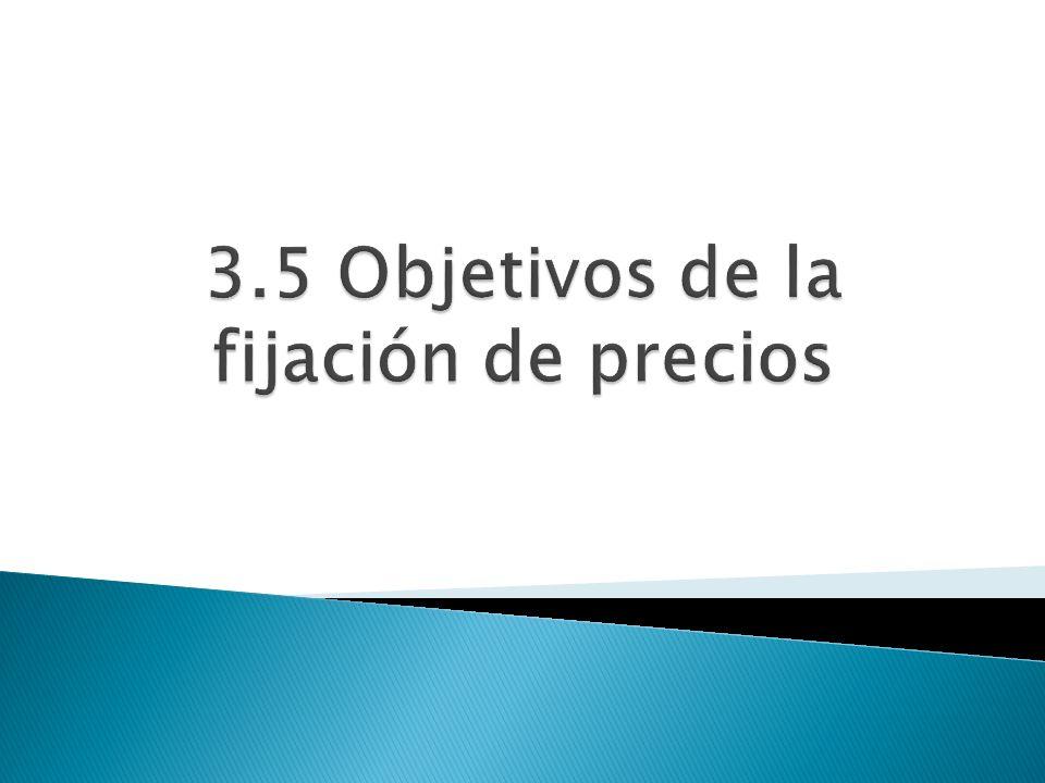 3.5 Objetivos de la fijación de precios