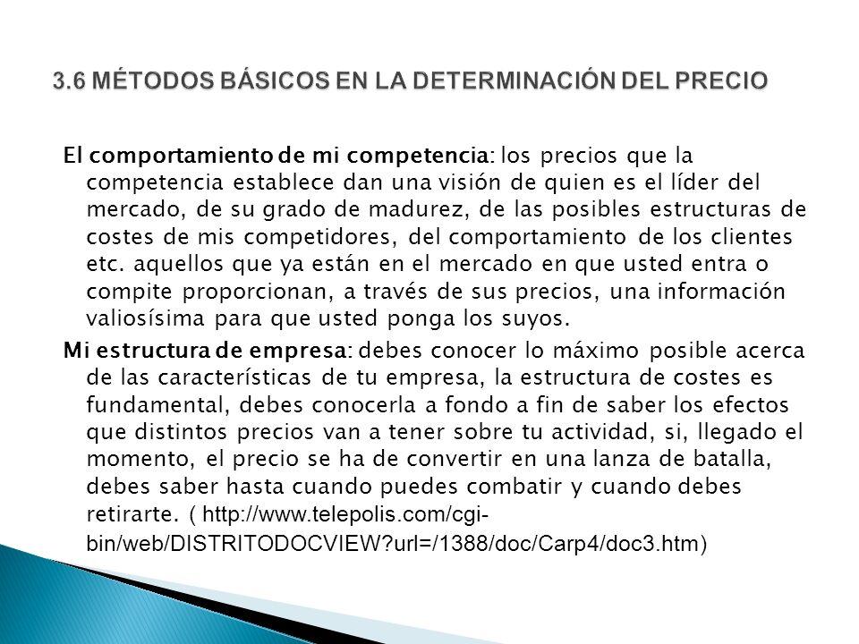3.6 MÉTODOS BÁSICOS EN LA DETERMINACIÓN DEL PRECIO