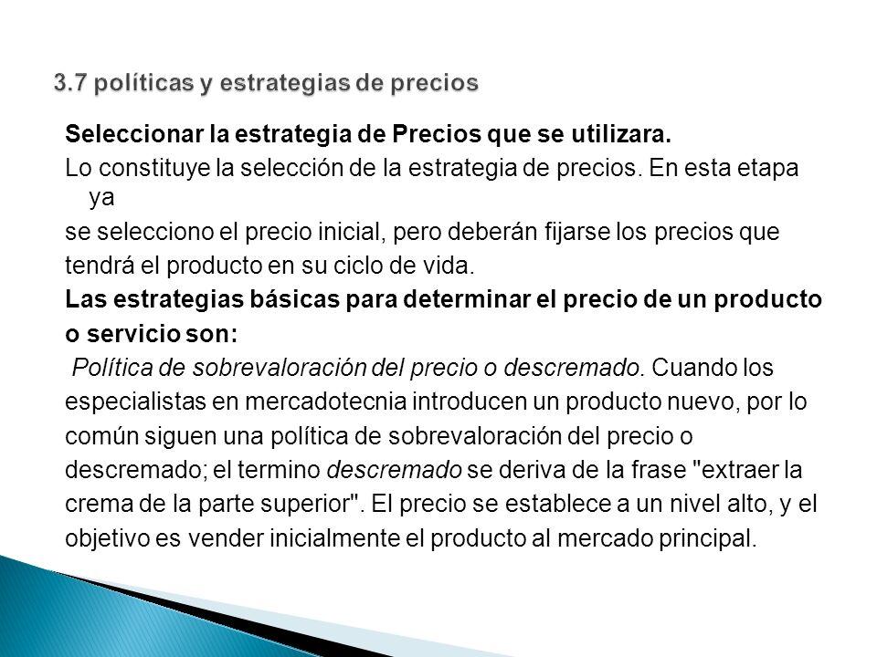 3.7 políticas y estrategias de precios