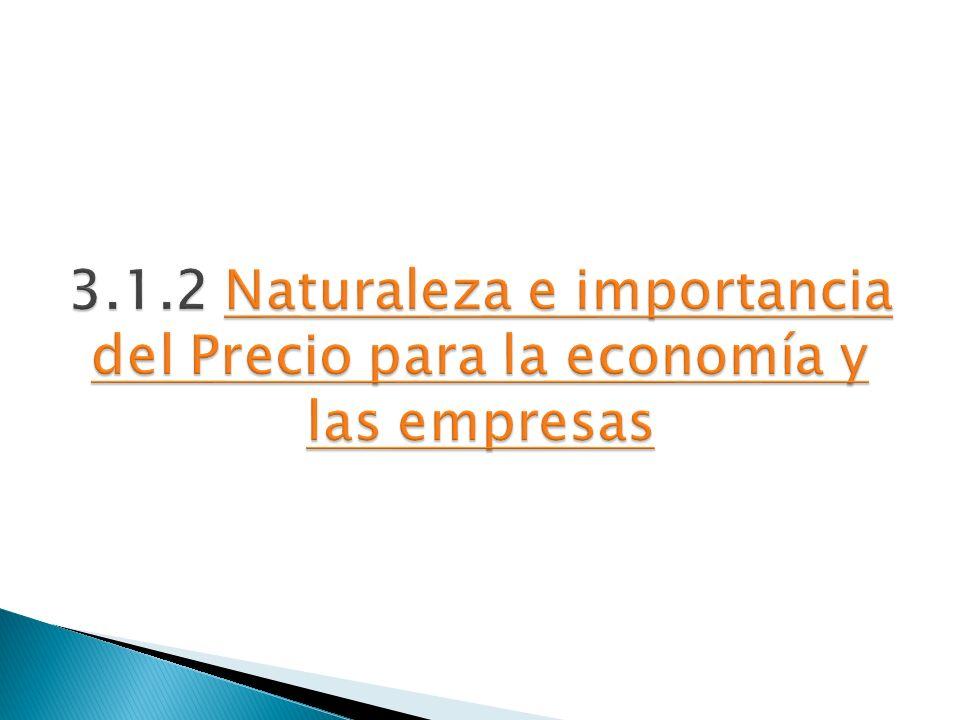 3.1.2 Naturaleza e importancia del Precio para la economía y las empresas