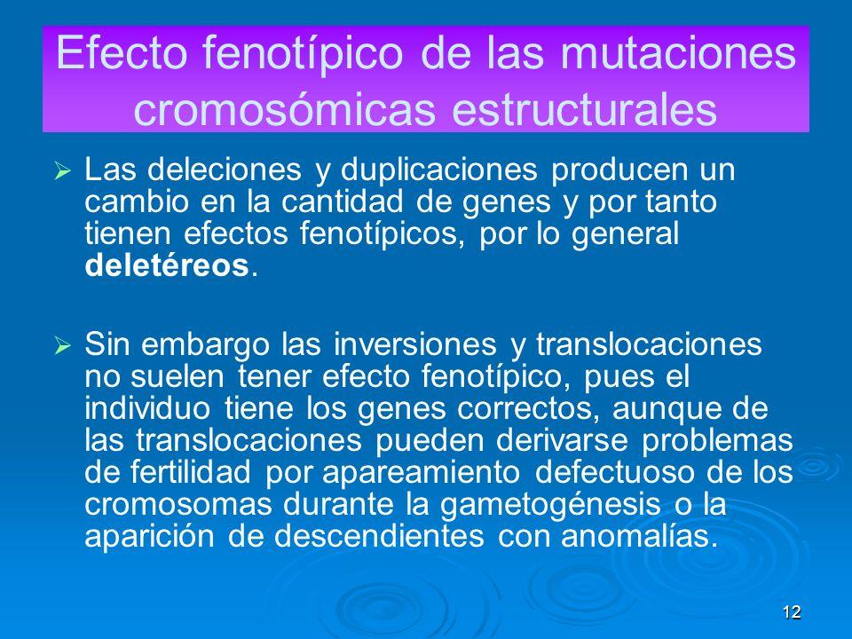 Efecto fenotípico de las mutaciones cromosómicas estructurales