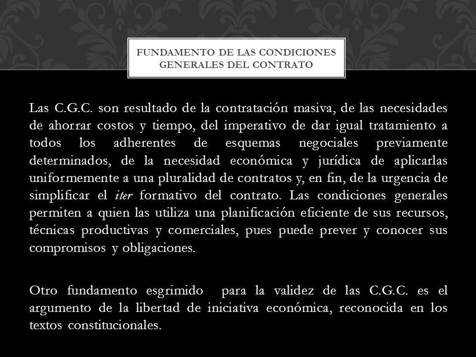Fundamento de las condiciones generales del contrato