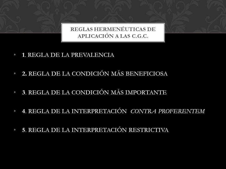 Reglas hermenéuticas de aplicación a las C.G.C.