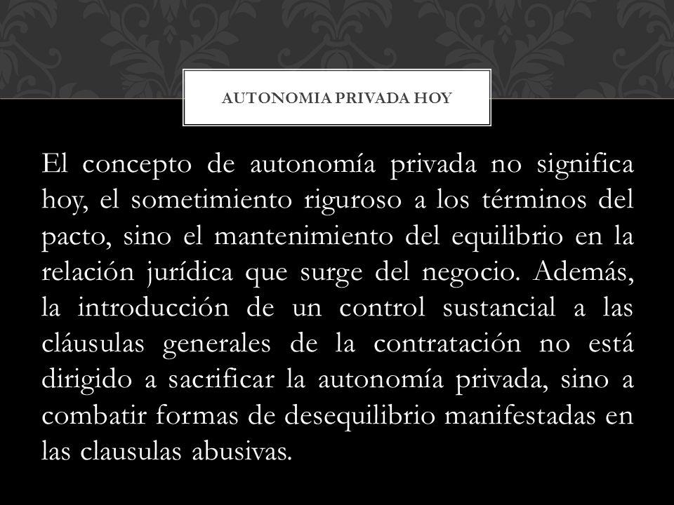 AUTONOMIA PRIVADA HOY