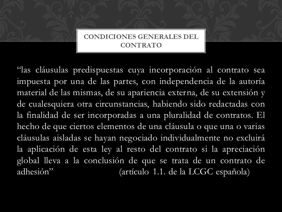 Condiciones generales del contrato