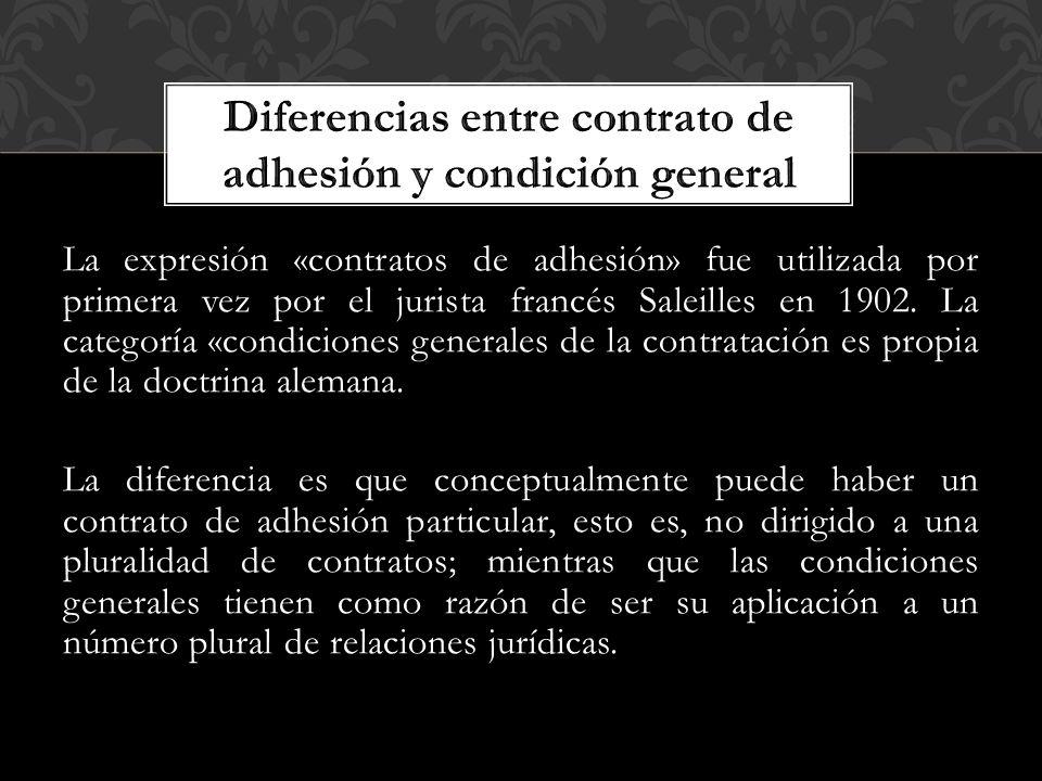 Diferencias entre contrato de adhesión y condición general