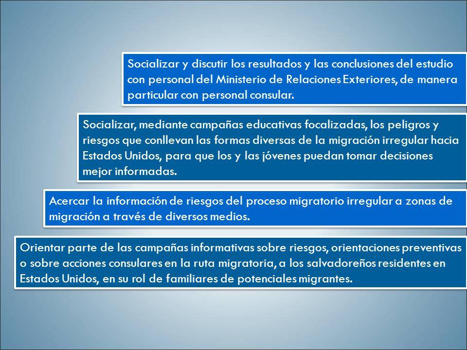 Socializar y discutir los resultados y las conclusiones del estudio con personal del Ministerio de Relaciones Exteriores, de manera particular con personal consular.